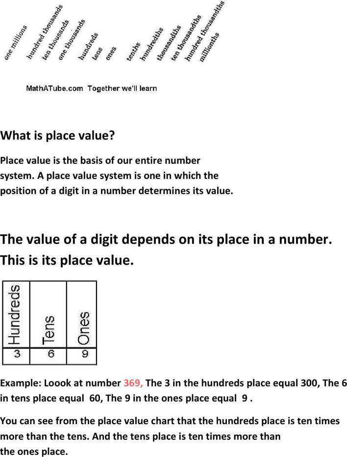 Free Place Value Chart Pdf 284kb 2 Pages Page 2