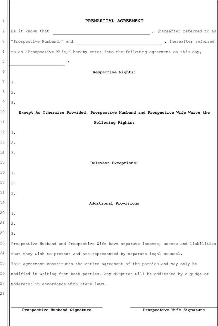 Free Prenuptial Agreement Template Doc 33kb 1 Page S