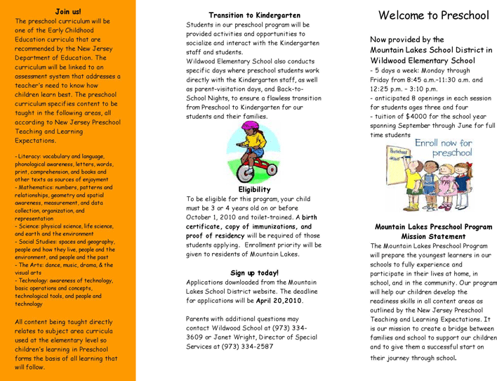 preschool brochure samples
