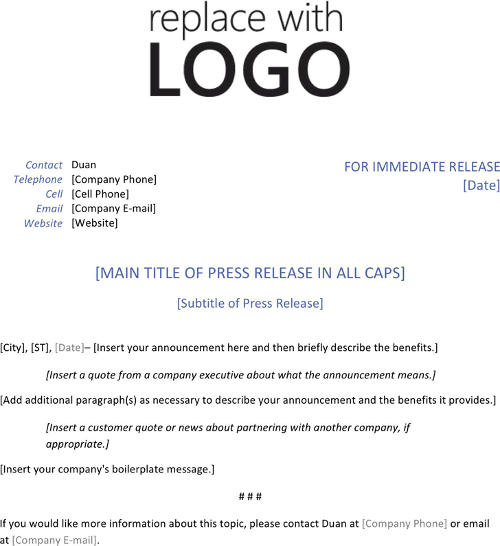 Press Release Template - Template Free Download   Speedy Template