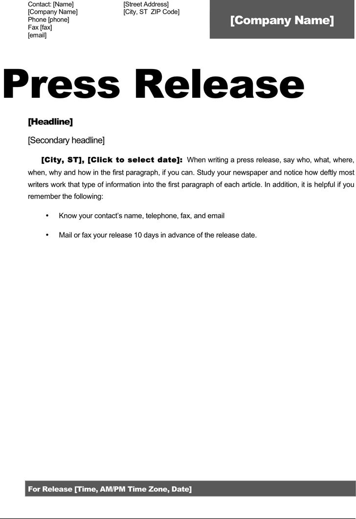 press release template template free download speedy template