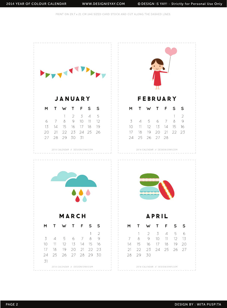 Cute calendar template template free download speedy template printable 2014 calendar page two designisyay maxwellsz