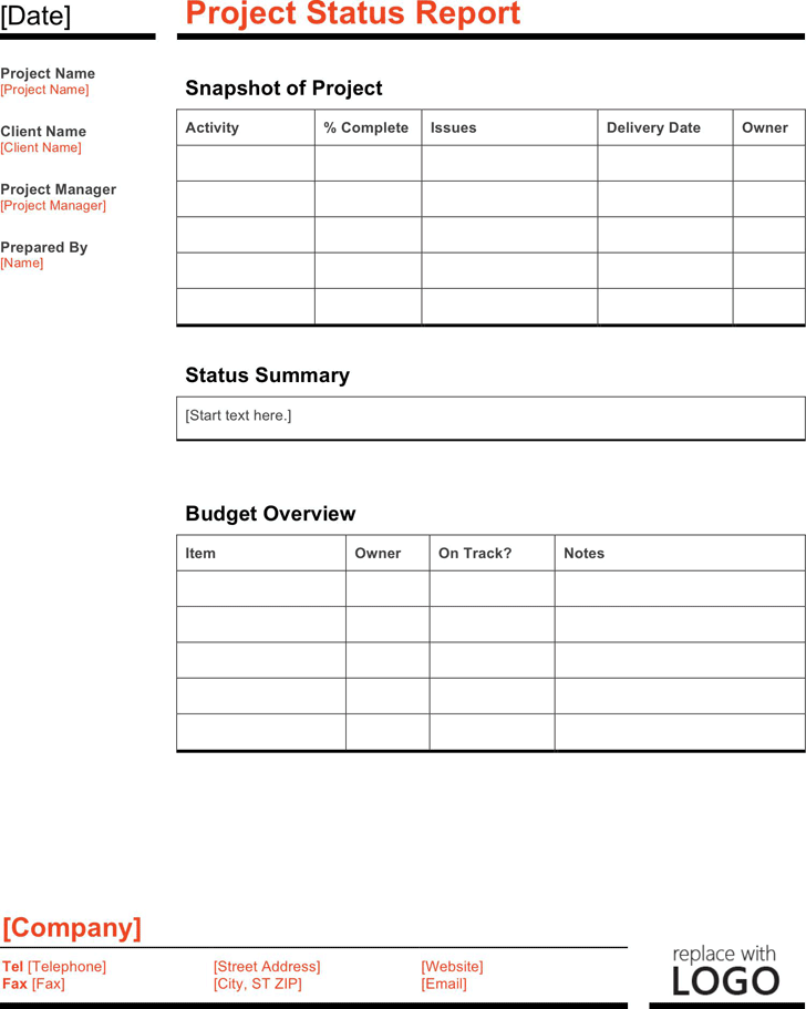 free project status report template dotx 58kb 1 page s