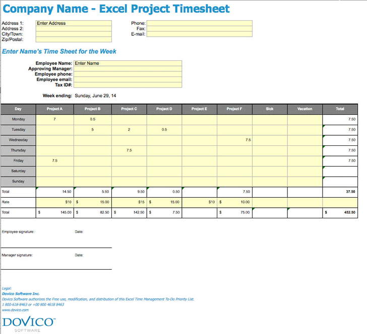 Free Project Timesheet Template - xls | 450KB | 39 Page(s)