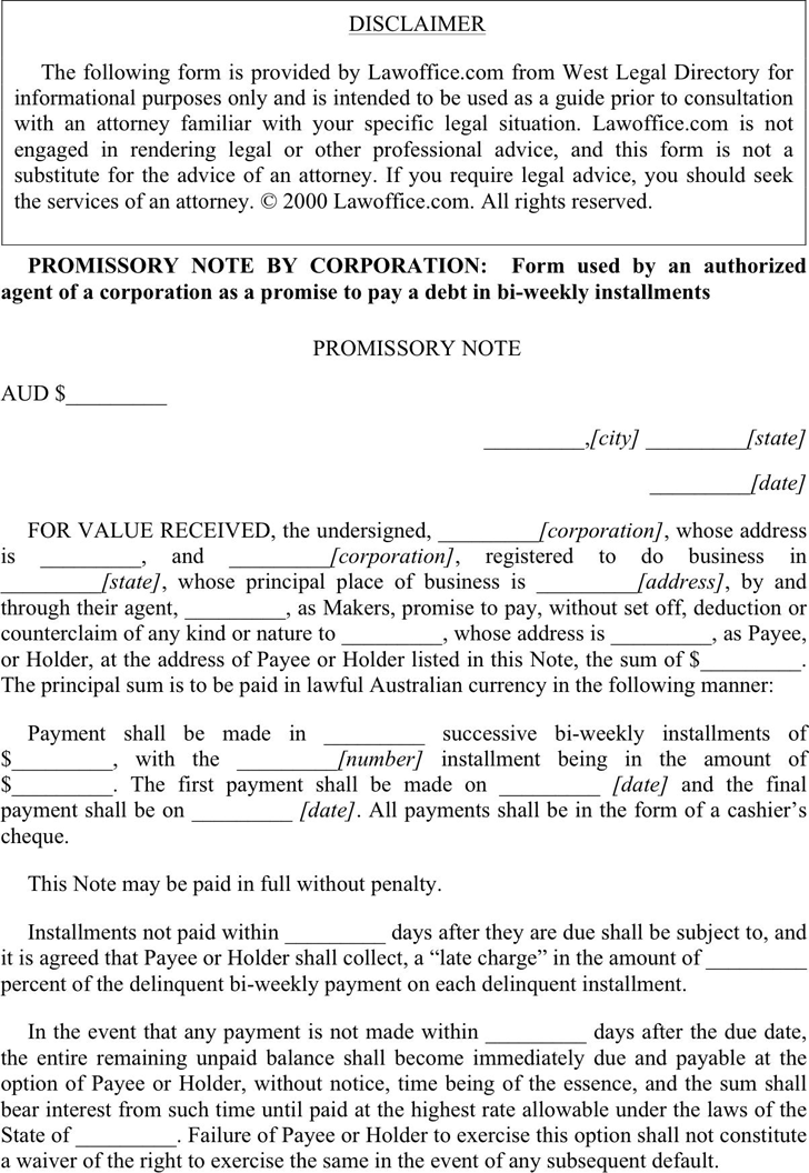 Promissory Note By Corporation  Promissory Note Template