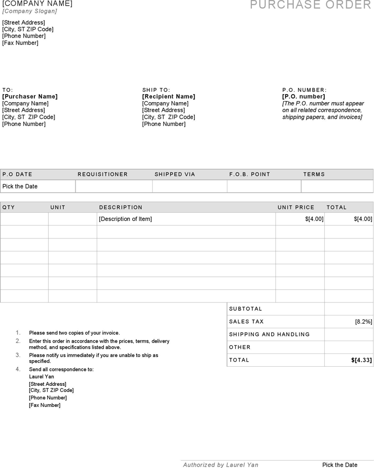 Free Purchase Order Template - docx | 91KB | 1 Page(s)