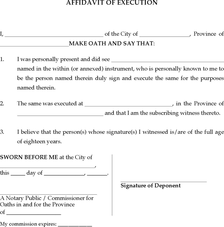 Affidavit template free template downloadcustomize and print quebec affidavit of execution form maxwellsz