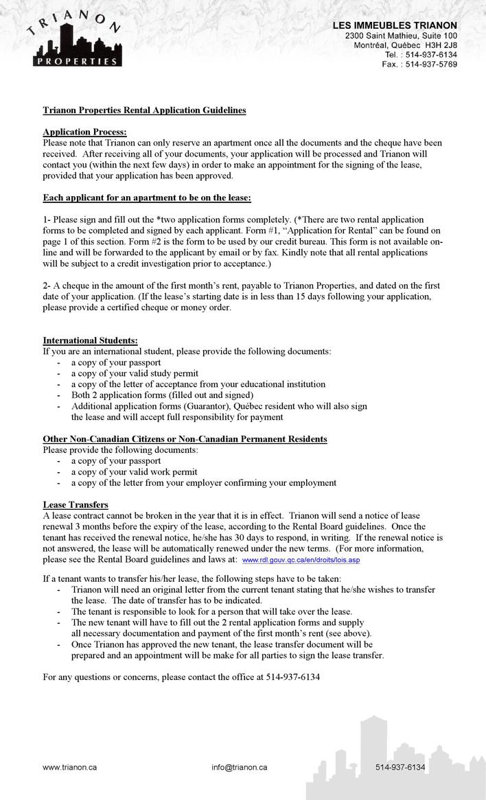 Free Quebec Application For Rental Form Pdf 72kb 3 Page S