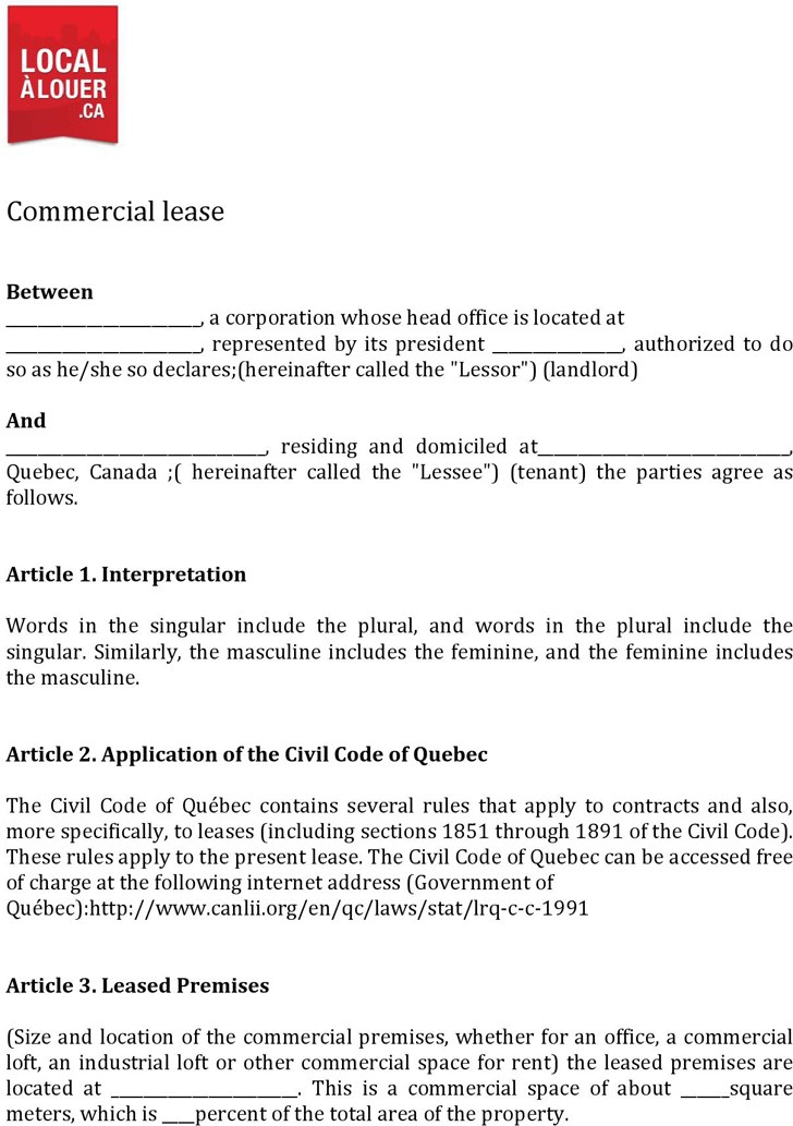 Free Quebec Commercial Lease Agreement Form Pdf 429kb