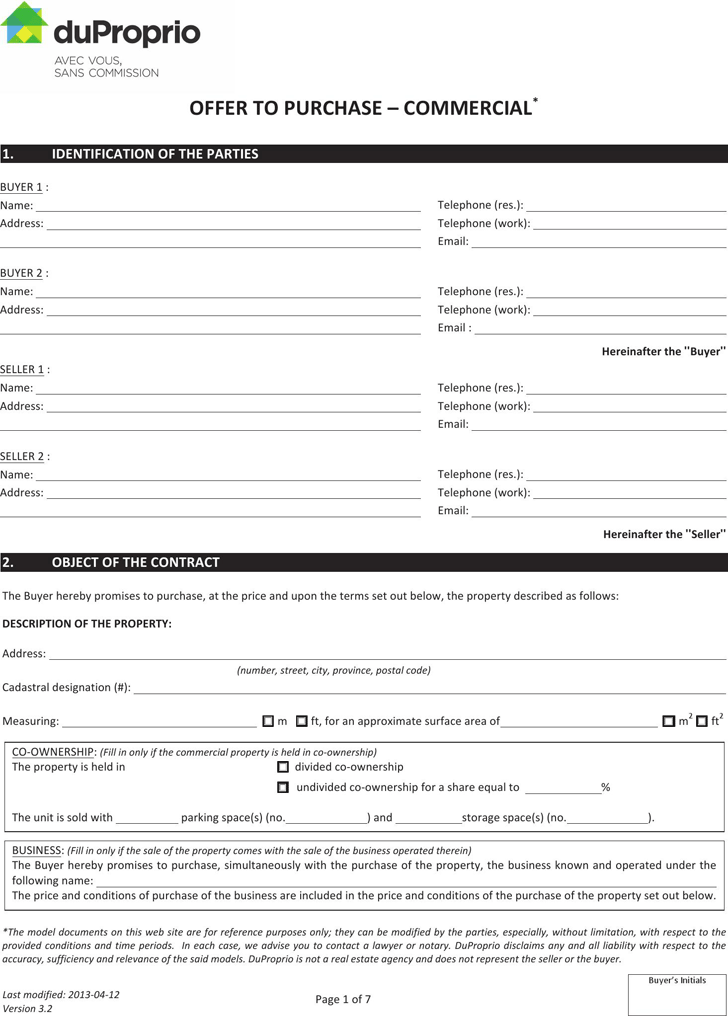 Free Quebec Offer To Purchase Commercial Form PDF KB - Offer to purchase business agreement template