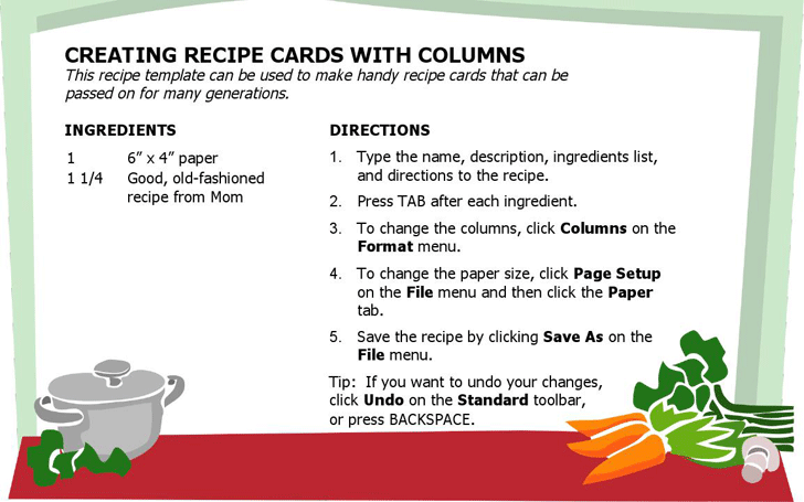 Free Recipe Card Multiple Columns Docx 25kb 1 Page S