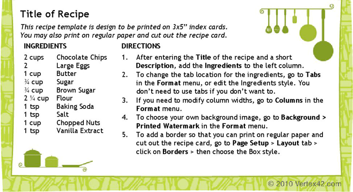 free recipe card template 3x5 doc 75kb 1 page s