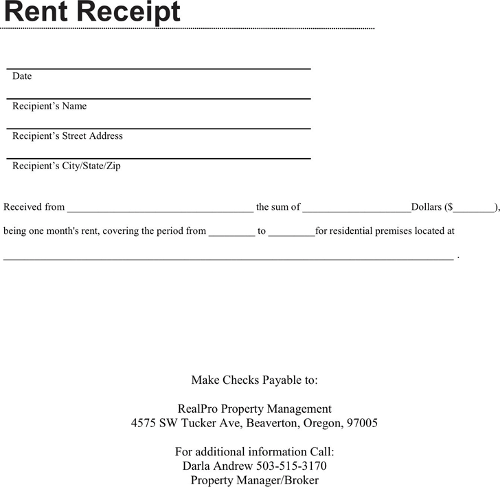 Free Rent Receipt Template Pdf 196kb 1 Pages