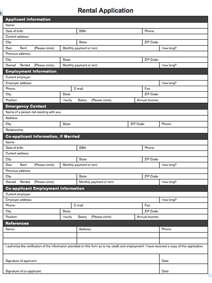 Rental Application Template 1