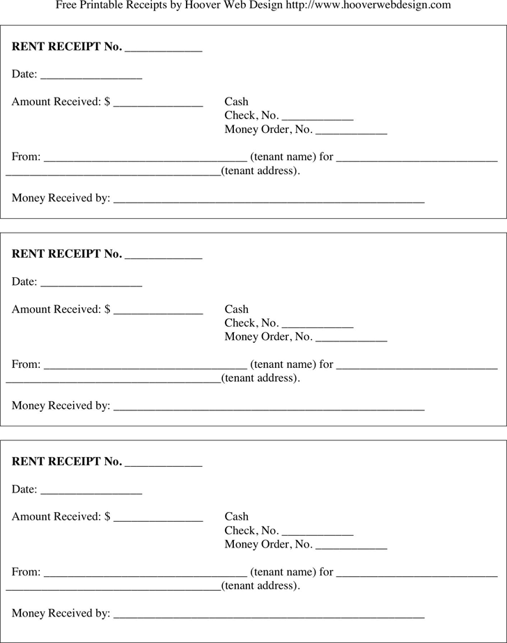 Rental Receipt Template 1