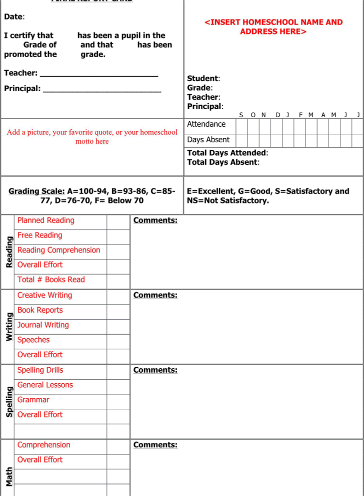 Report Card Template Template Free Download Speedy Template