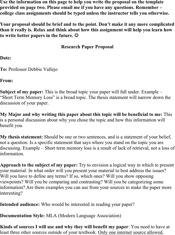 Free Research Paper Proposal Template  Doc  Kb   Pages Research Paper Proposal Template