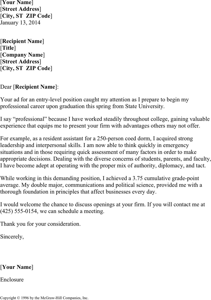 Free Resume Cover Letter For College Students Dot 25kb 1 Page S