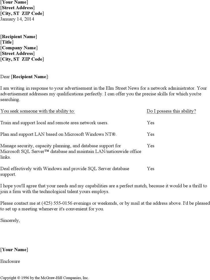 Resume Cover Letter For Network Administrator