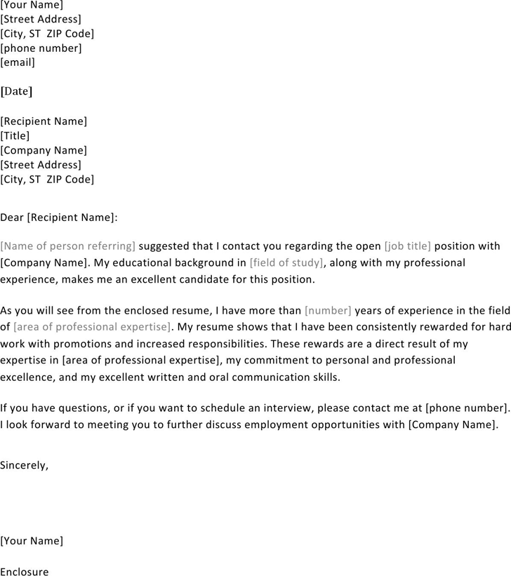 Cover Letter Referred By: Cover Letter Format Examples