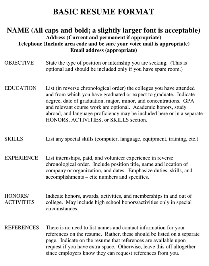 Resume Format with Section Examples