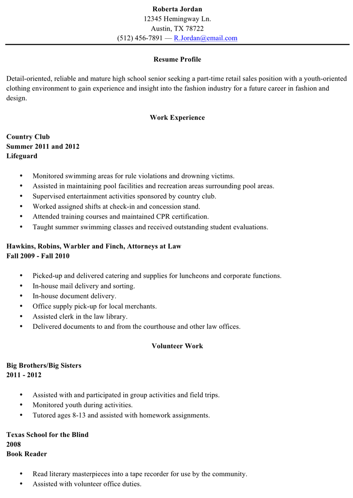 free resume sample high school graduate