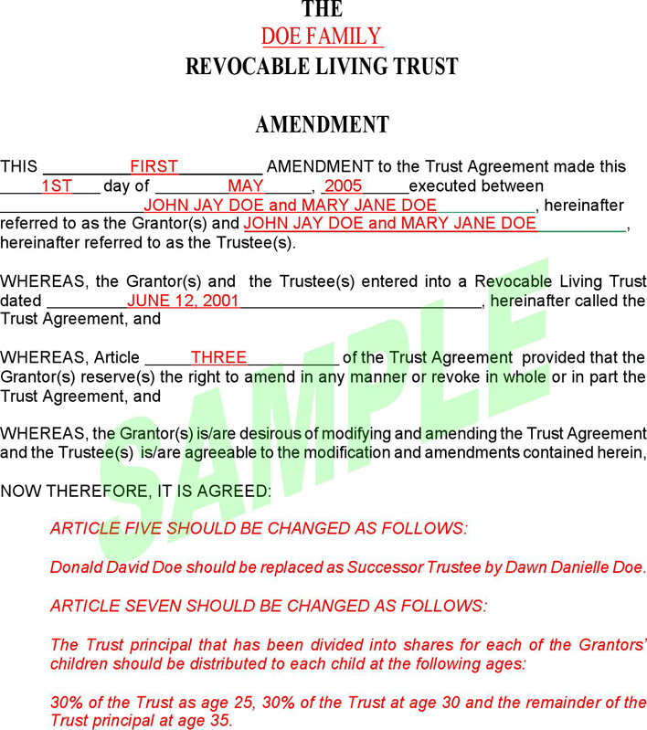 free revocable living trust amendment form pdf 58kb 5 page s page 2. Black Bedroom Furniture Sets. Home Design Ideas