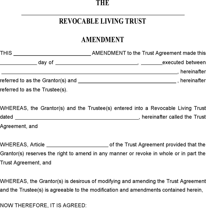 revocable living trust amendment form trust amendment form - Dolap.magnetband.co