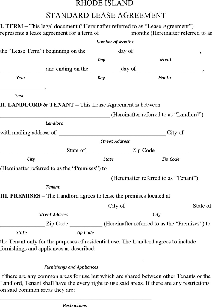 Free Rhode Island Residential Lease Agreement Form Pdf