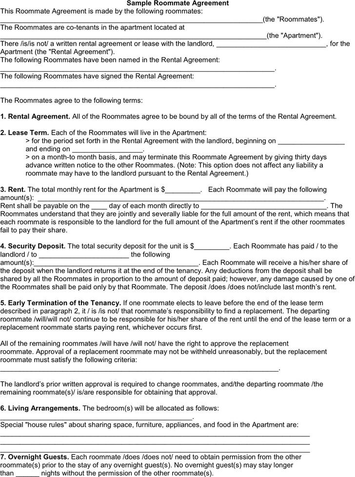 roommate agreement sample
