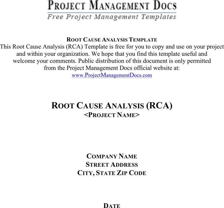 Free Root Cause Analysis Template - doc | 103KB | 7 Page(s)