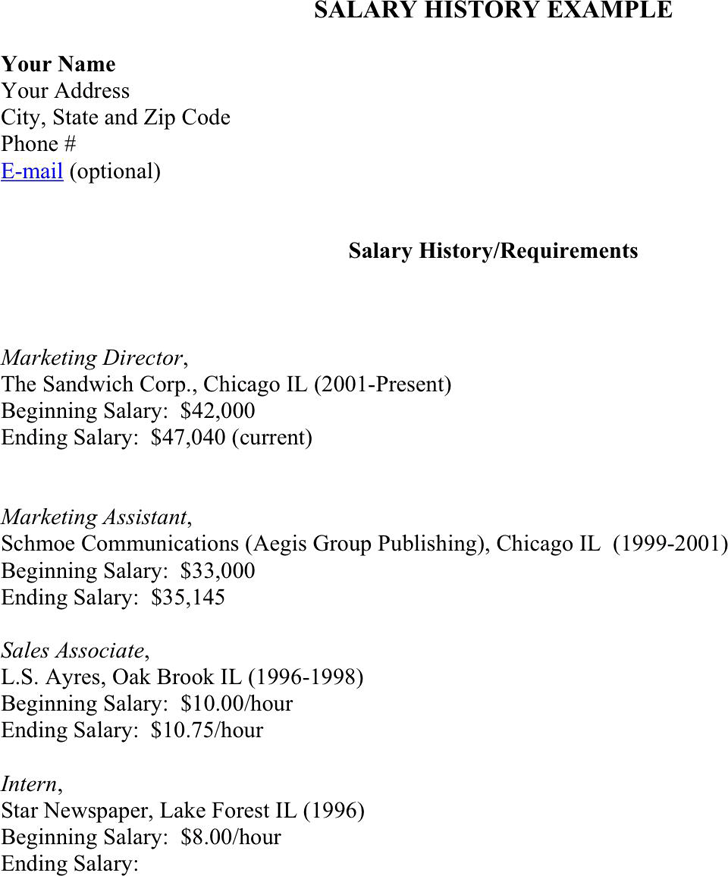 Free salary history example pdf 15kb 1 page s for Salary history template hourly
