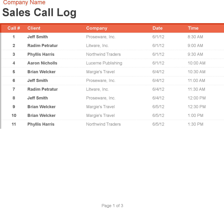 Free Sales Call Log and Organizer - xlsx | 65KB | 3 Page(s)
