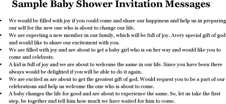 Free sample baby shower invitation messages docx 15kb 1 pages filmwisefo