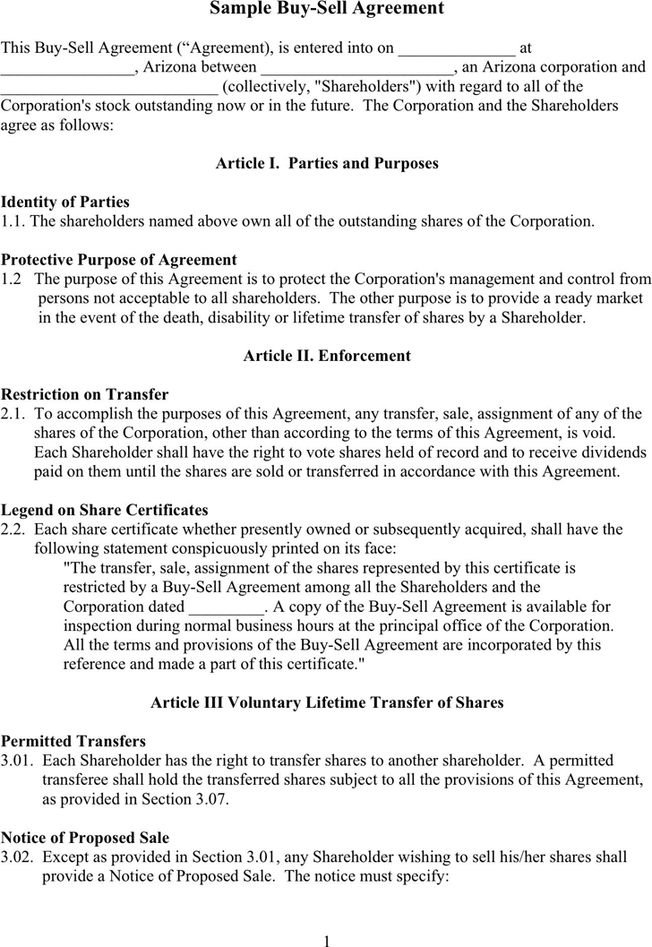 selling a business contract template - free sample buy sell agreement doc 57kb 6 page s