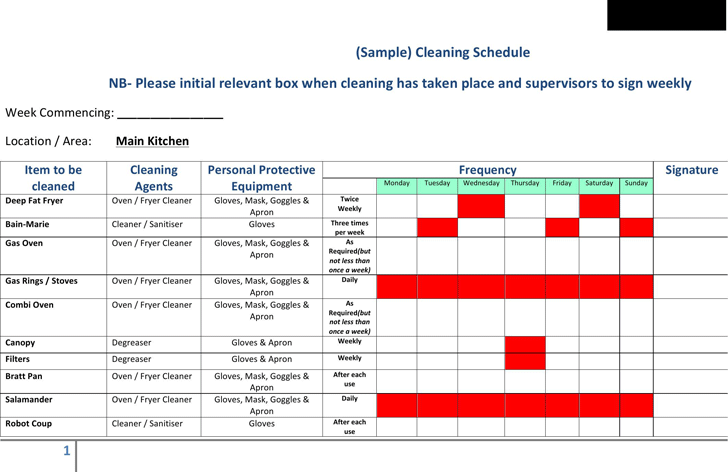 Cleaning Schedule Template - Template Free Download | Speedy Template