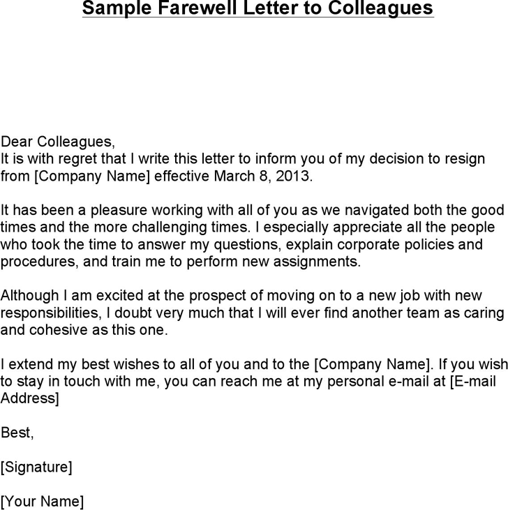 Free Sample Farewell Letter to Colleagues docx 64KB 1 Pages