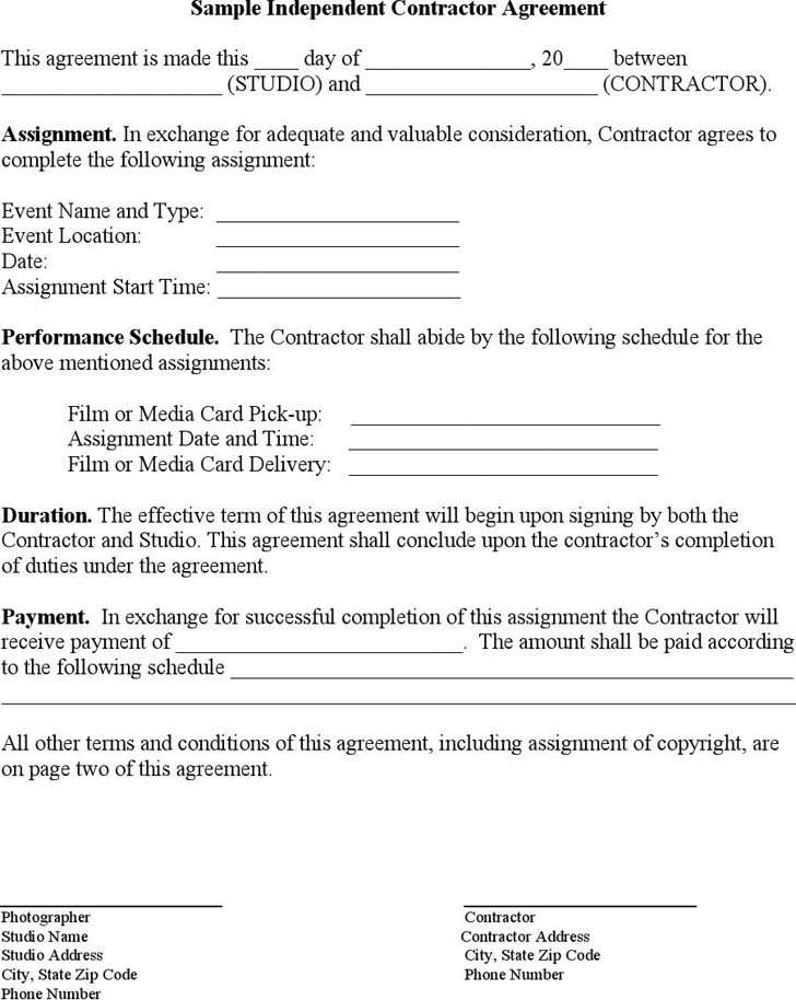 Sample Independent Contractor Agreement - Template Free Download ...