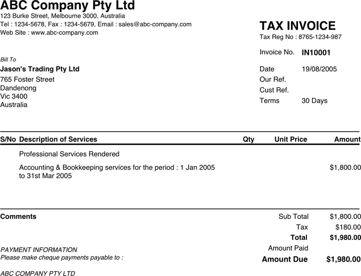 sample invoice template free download speedy template