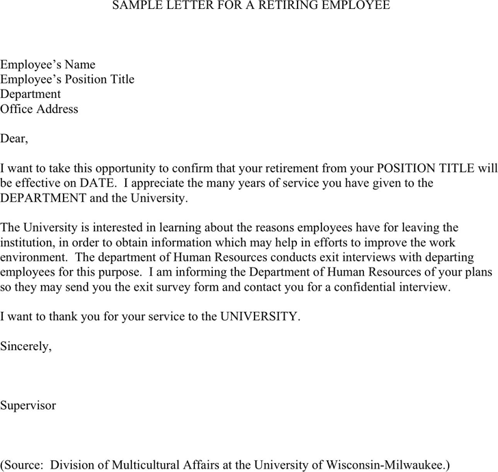 Sample Letter For A Retiring Employee  Retirement Letters
