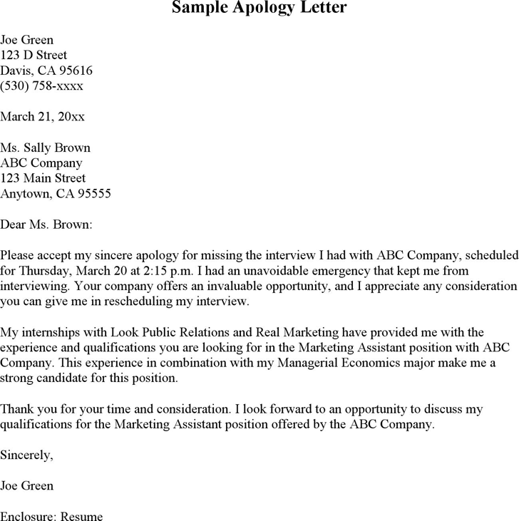 Apology Letter for Missing Interview Template Free Download