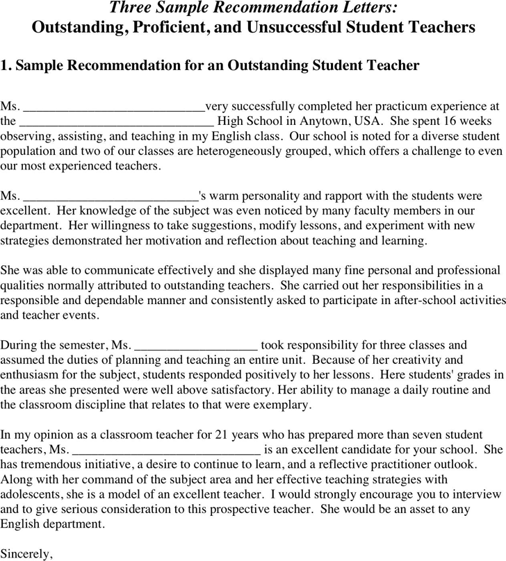 Student Teacher Letter Of Recommendation from www.speedytemplate.com