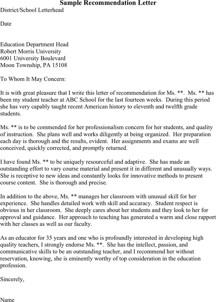 Letter of recommendation for teacher template free download sample letter of recommendation for student teacher 2 spiritdancerdesigns Image collections