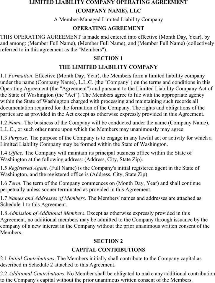 Sample LLC Operating Agreement 2