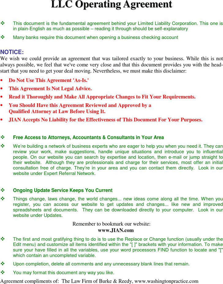 Llc Operating Agreement Template Free Download Speedy Template