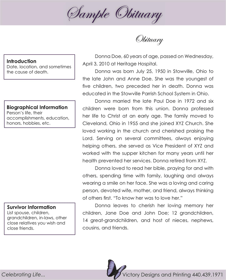 Obituary Examples - Template Free Download | Speedy Template