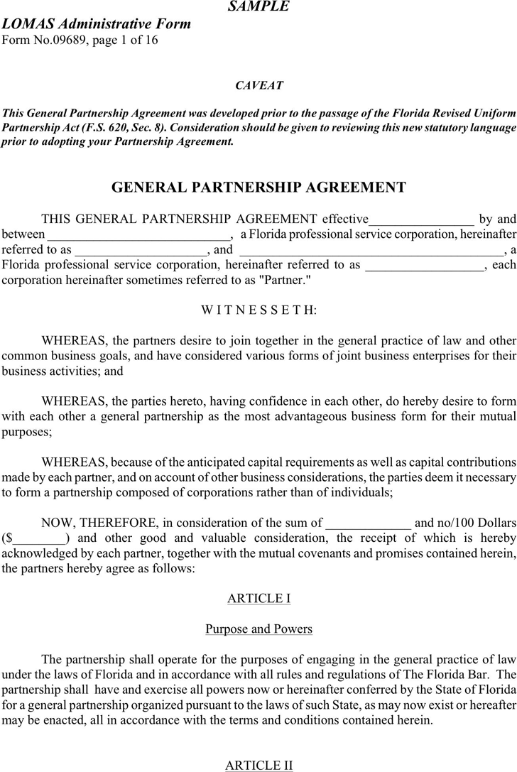 Free Sample Partnership Agreement Doc KB Pages - Generic partnership agreement template