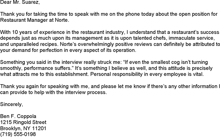 Thank You Letter After Phone Interview from www.speedytemplate.com