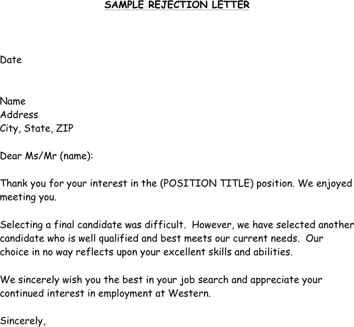 Sample Job Rejection Letter from www.speedytemplate.com