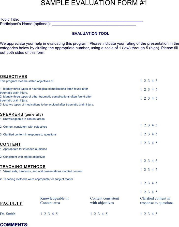 Sample Program Evaluation Template